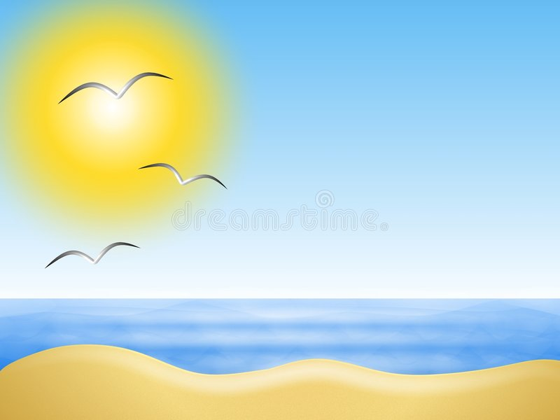 Sunny Summer Beach Background stock illustration