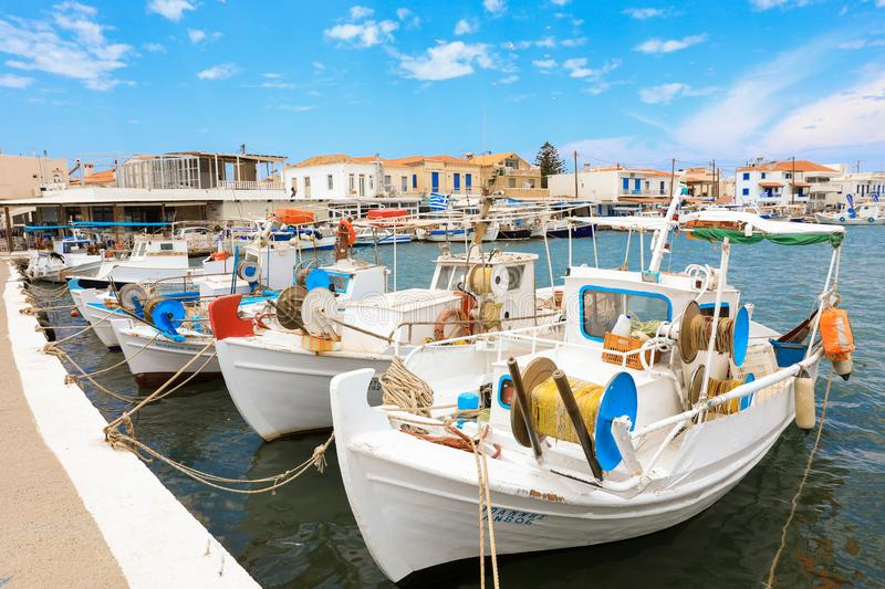 Sunny summer day and beautiful fishing boats in the port of Elafonisos village island, Laconia, Peloponnese, Greece June 2018. Horizontal stock image