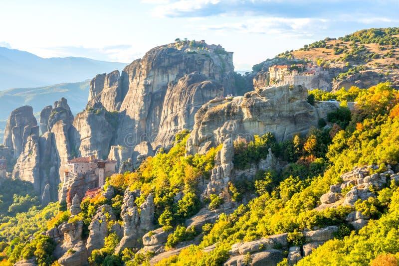 Sunny Summer Day and Meteora Rock Monasteries stock photos