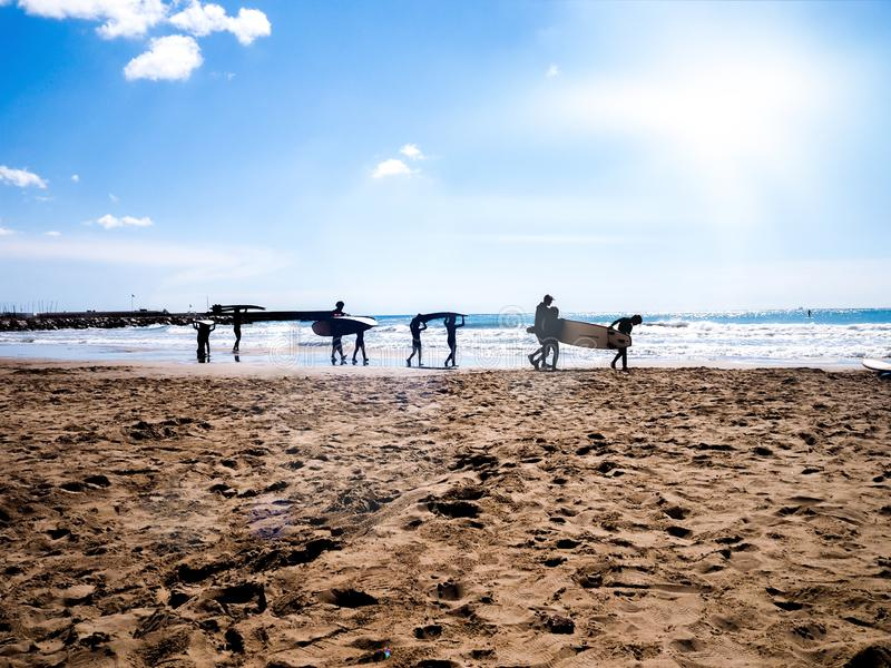 Silhouette of surfer children with adults, carrying their sufrboard on a beach. Sunny summer day. Sunny summer day. Silhouette of surfer children with adults stock image