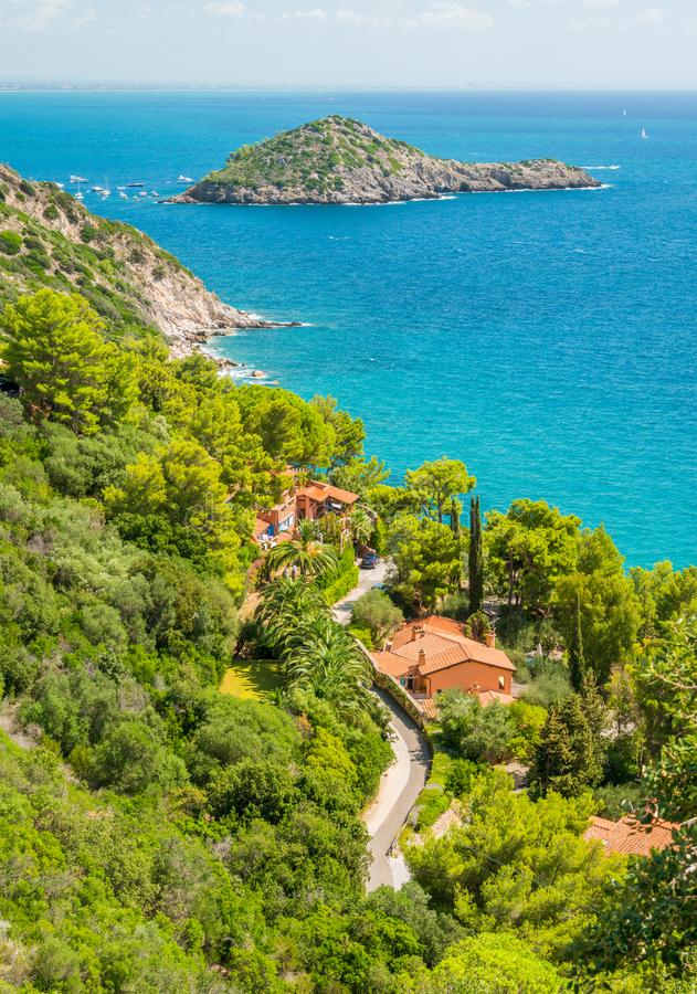 A sunny summer landscape near Porto Ercole, in Monte Argentario, in the Tuscany region of Italy. stock images