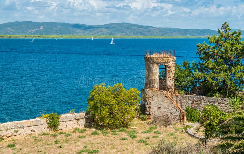 A sunny summer landscape near Porto Ercole, in Monte Argentario, in the Tuscany region of Italy. royalty free stock photography