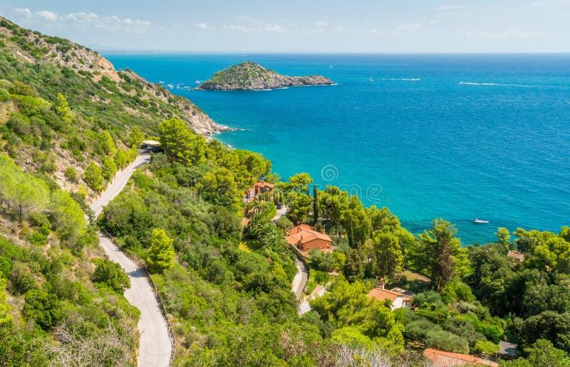 A sunny summer landscape near Porto Ercole, in Monte Argentario, in the Tuscany region of Italy. stock image
