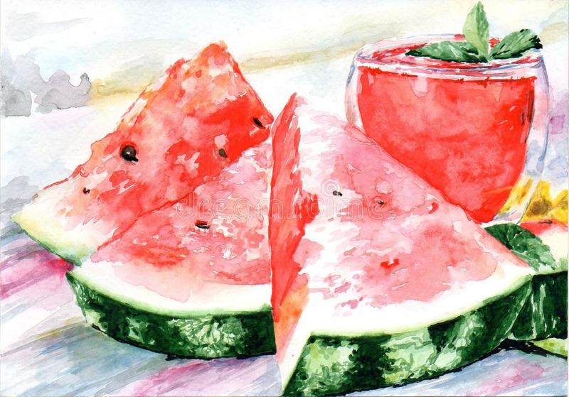 Watermelon juice, watermelon slices on a summer morning. royalty free illustration