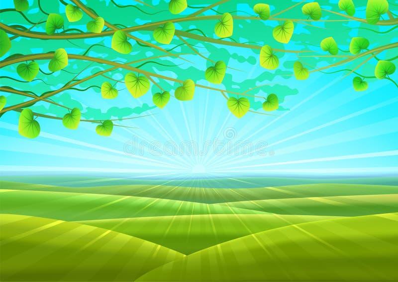 Sunny summer pastoral scenery stock illustration