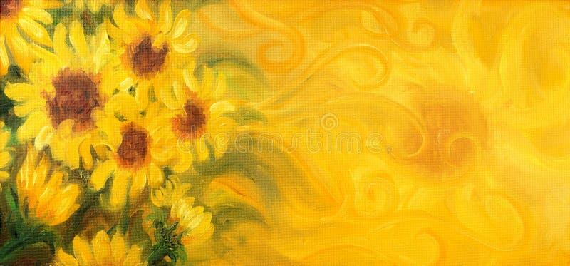 Download Sunny Sunflowers Avec Le Soleil Et Des Ornements Peinture à L'huile Sur La Toile Illustration Stock - Illustration du abstrait, milieux: 56486987