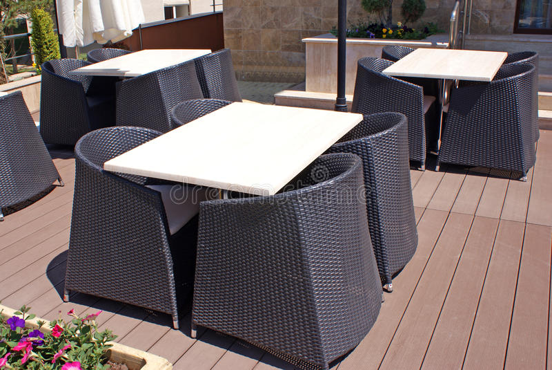 Sunny terrace stock image