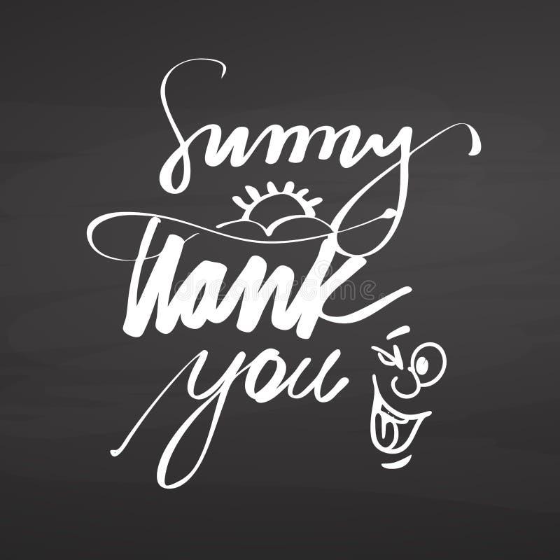 Sunny thank you lettering on chalkboard vector illustration