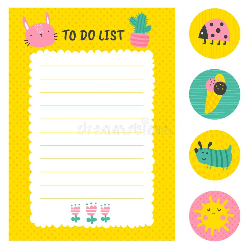 Sunny to do list royalty free illustration