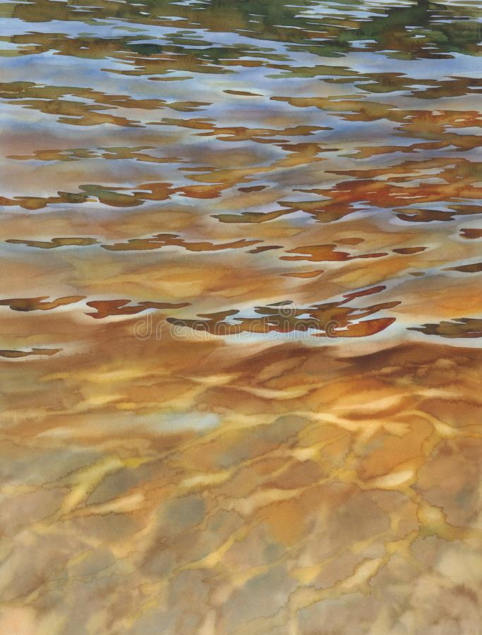 Sunny water with transparent waves watercolor background stock photo