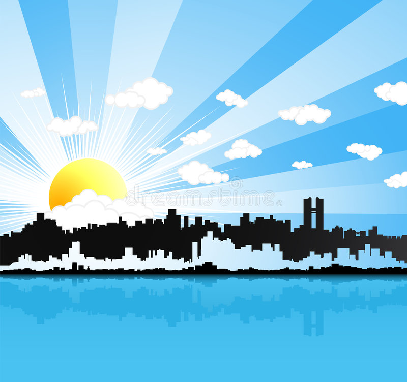 Sunny urban panorama background