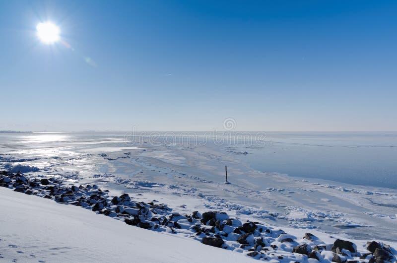 Sunny view across frozen lake