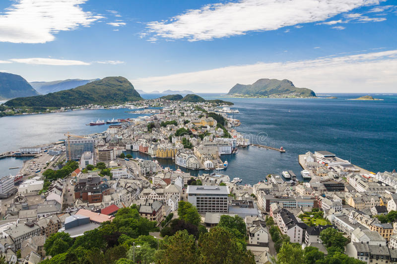 Sunny view of Alesund from mountain Aksla. Norway stock photo