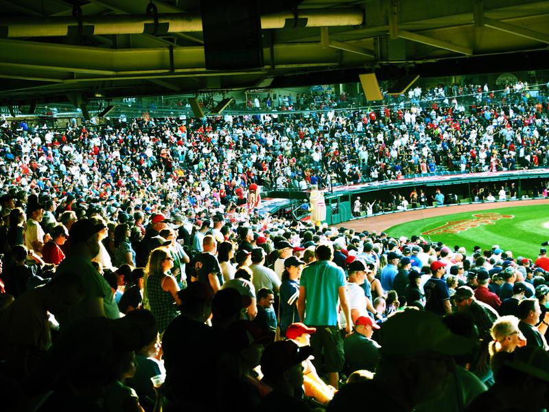 A sunny view of the back stop at Progressive Field in Cleveland, Ohio - USA - OHIO. Progressive Field is a baseball park located in the downtown area of royalty free stock photos