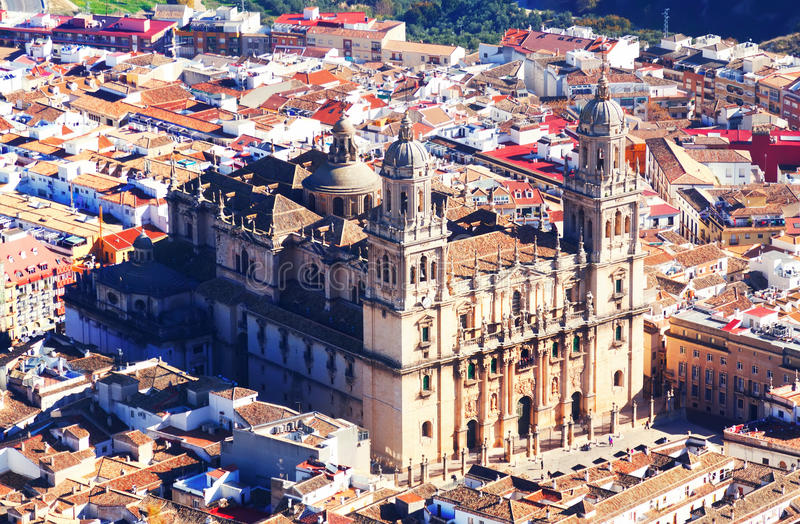 Sunny view of Jaen Cathedral royalty free stock images