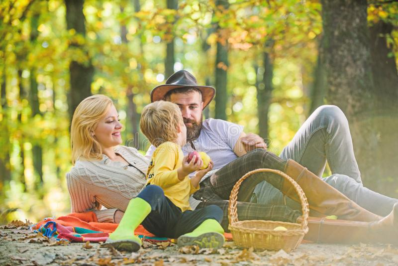 Sunny weather. Healthy food. Family picnic. Mother, cowboy father love their little boy child. Happy son with parents. Relax in autumn forest. Spring mood royalty free stock images