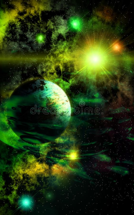 Sunny Wind. Deep outer space background with stars and nebula