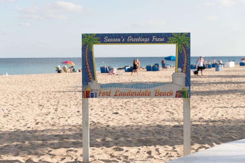 Sunny winter afternoon on Fort Lauderdale Beach, FL stock photo