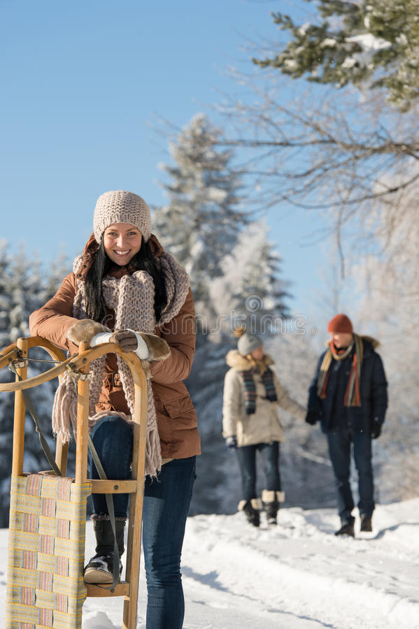 Sunny winter day people in snow countryside royalty free stock photo