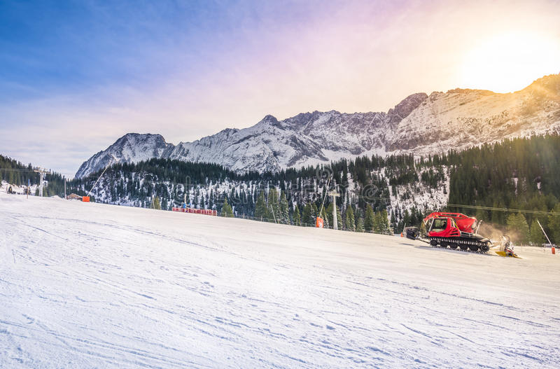 Sunny winter day on the ski slope stock photography