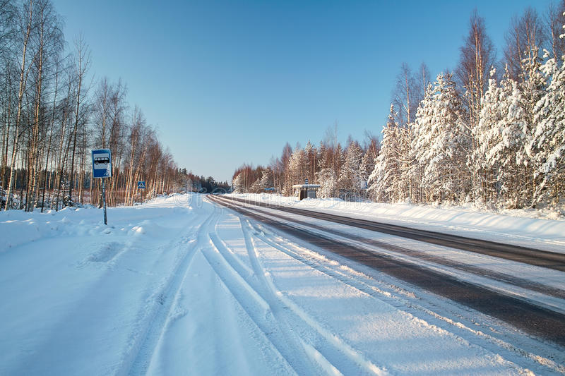 Download Sunny winter road stock image. Image of cool, cold, outdoor - 12413909