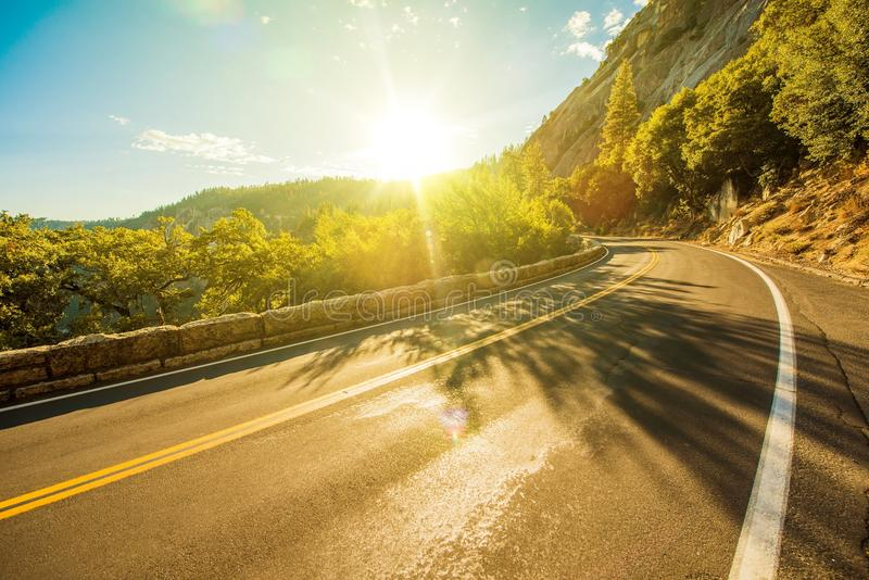 Sunny Yosemite Road. In Summer. Yosemite, California USA stock images
