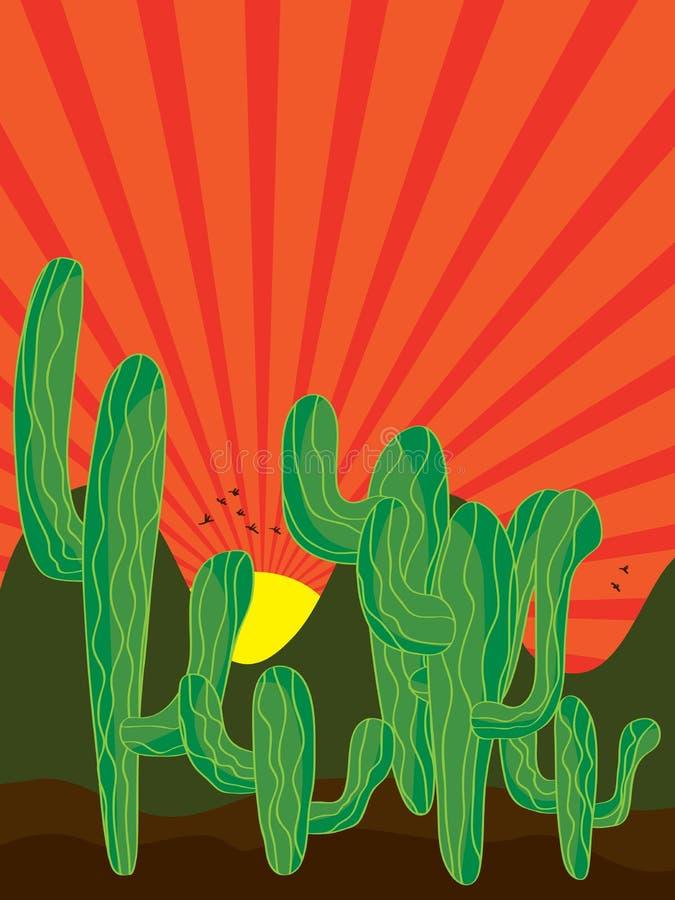 Sunray предпосылки кактуса иллюстрация вектора