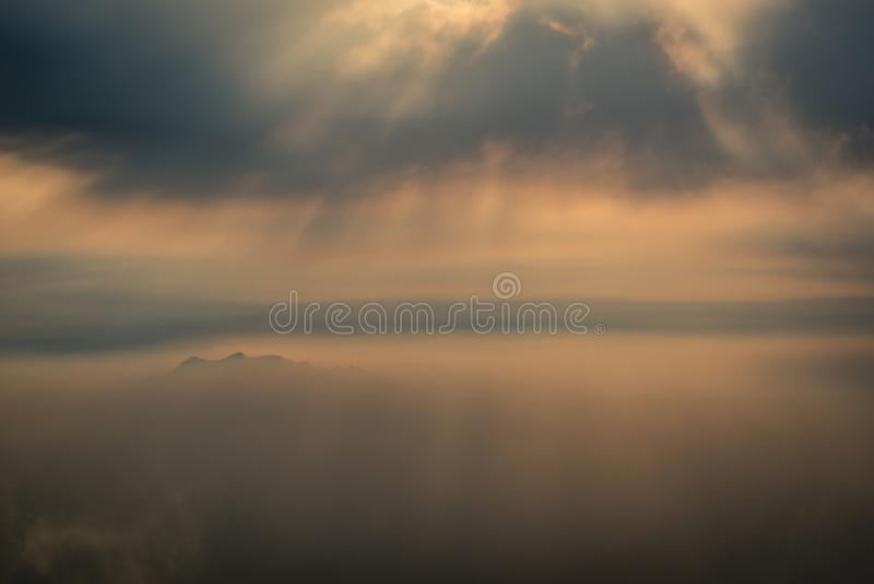 Sunrays and coulds over moutain top in Bukhansan Seoul royalty free stock images