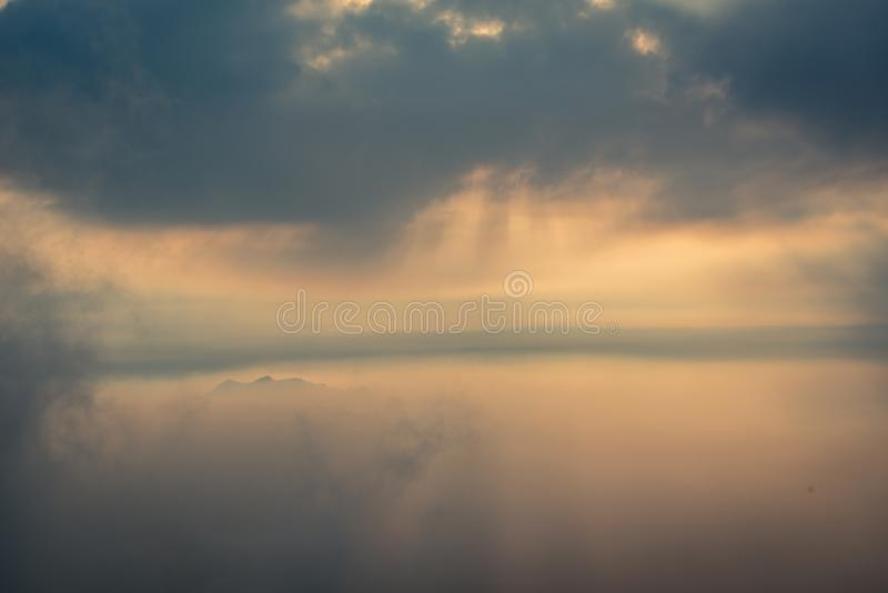 Sunrays and coulds over moutain top in Bukhansan Seoul royalty free stock photography