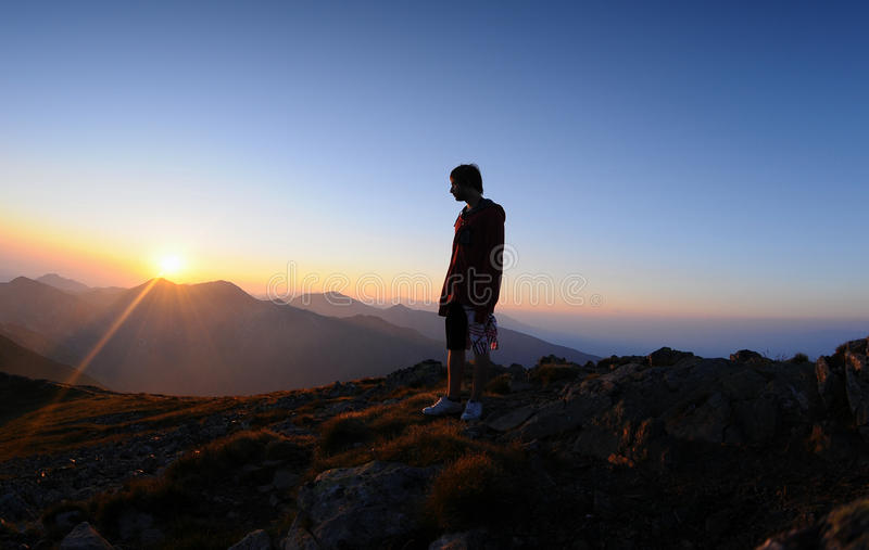 Sunrice in mountain stock images