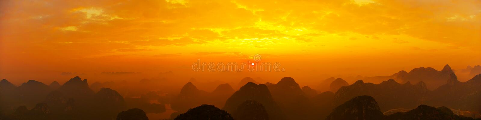 Sunrise. The morning sun rises in the valley royalty free stock image