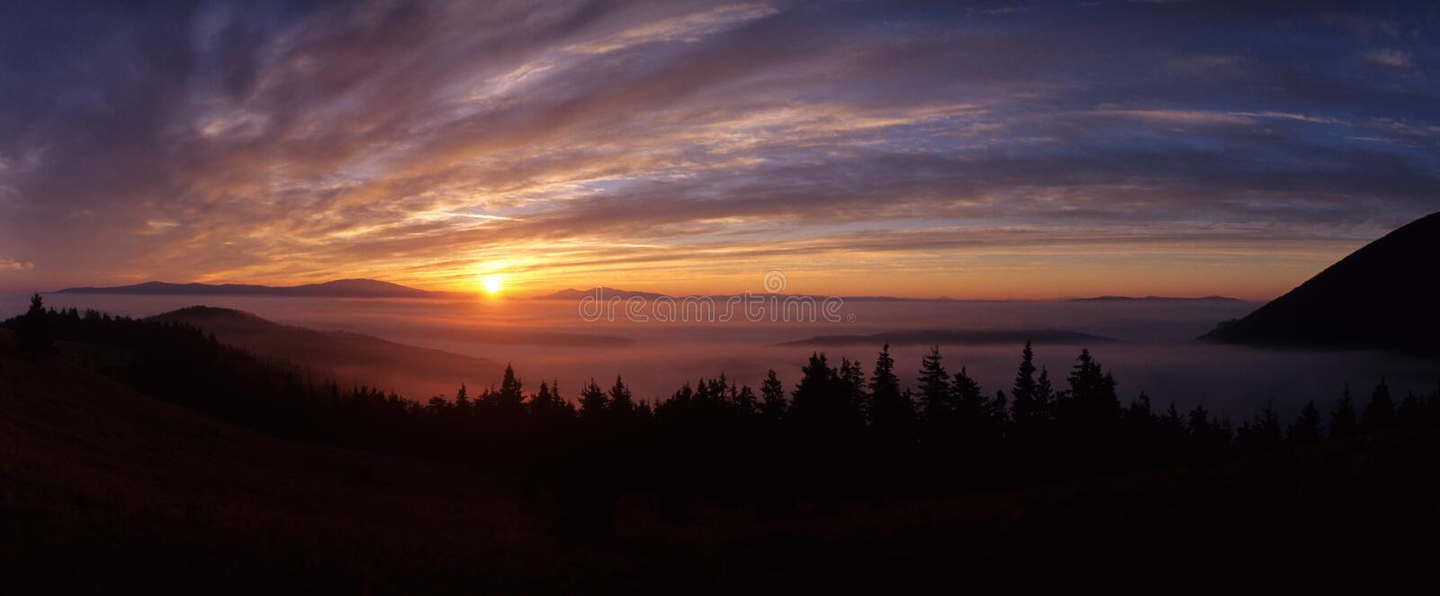 Sunrise. Over Suhard Mountains, Eastern Carpathians, Romania royalty free stock photos