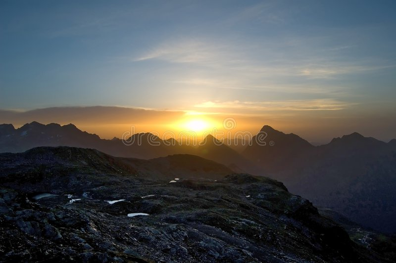 Download Sunrise stock photo. Image of peak, peaceful, stone, blue - 3414854