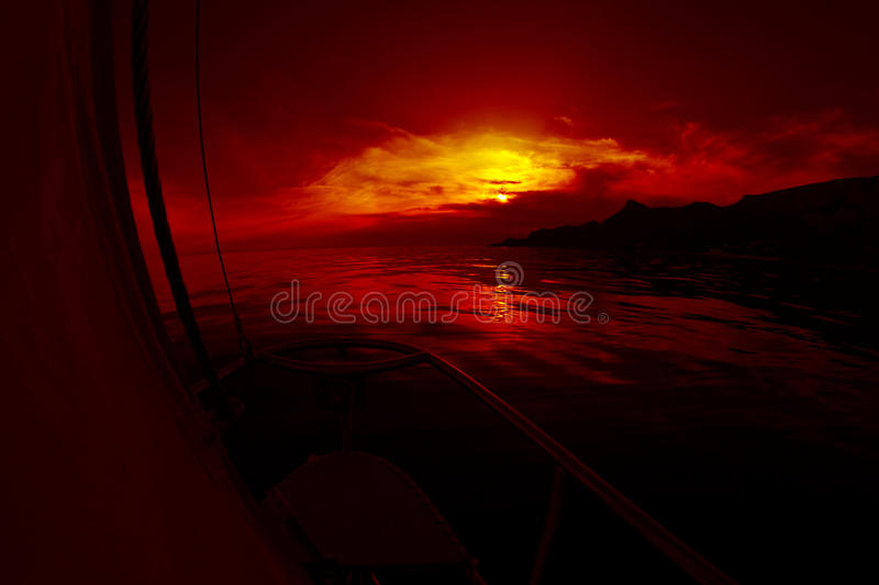 Sunrise aboard a sailing yacht royalty free stock images