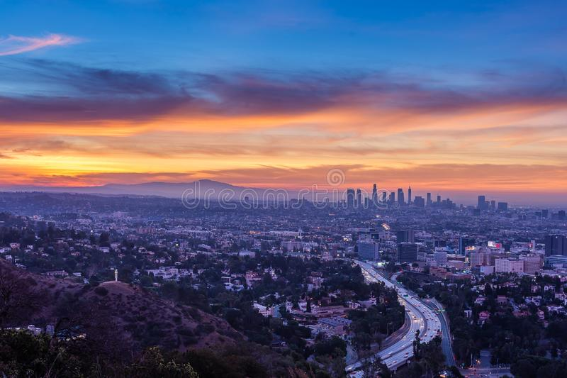 Sunrise from above the Hollywood Bowl. Dawn begins to shine light over Los Angeles and the rest of Southern California royalty free stock images