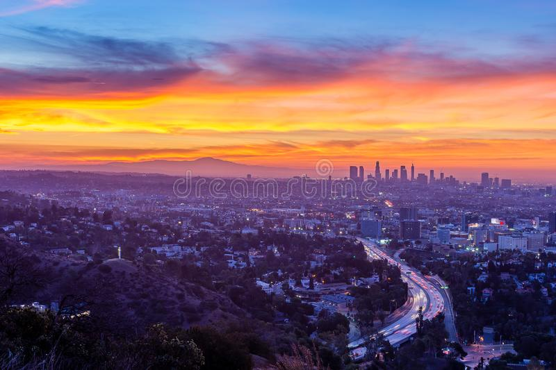 Sunrise from above the Hollywood Bowl. Dawn begins to shine light over Los Angeles and the rest of Southern California royalty free stock photography