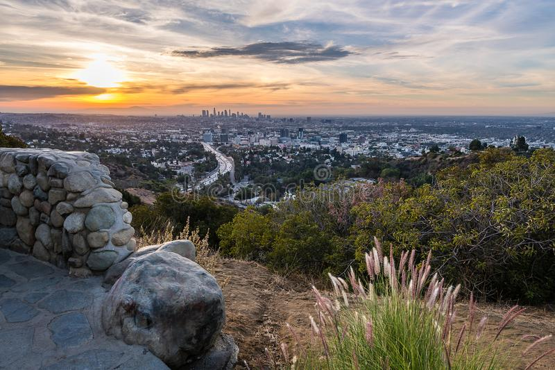 Sunrise from above the Hollywood Bowl. Dawn begins to shine light over Los Angeles and the rest of Southern California royalty free stock photos
