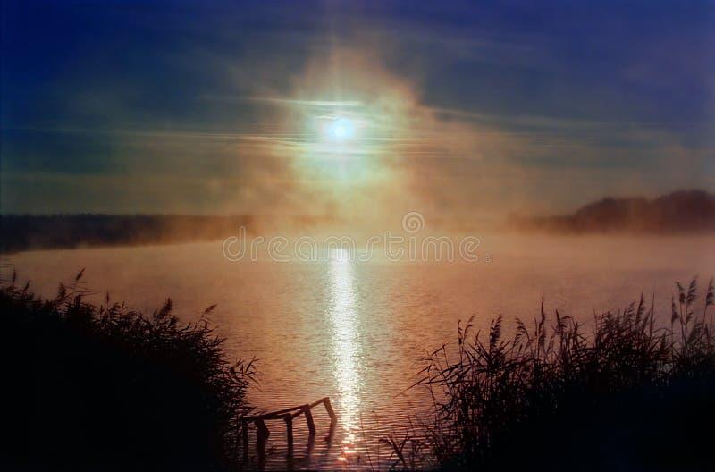 Sunrise above the pond royalty free stock photo