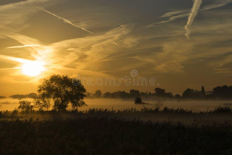 Sunrise above the river Merwede. Near the village Boven-Hardinxveld in the Dutch region Alblasserwaard stock photos