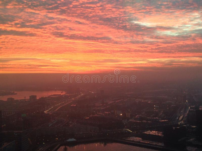 Sunrise above Rotterdam stock images