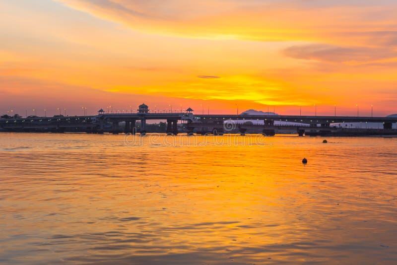Sunrise above Sarasin bridge. Scenery sunrise above Sarasin bridge. fishing boats parking on the Sarasin beach. Sarasin bridge linking the province of Phang Nga stock photography