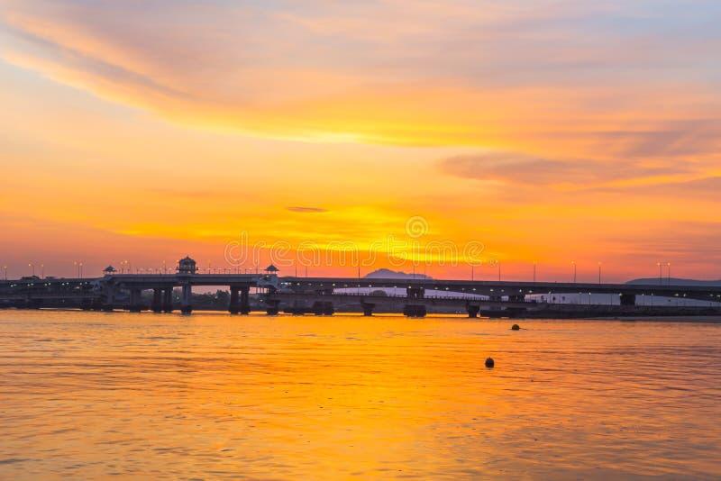 Sunrise above Sarasin bridge. Scenery sunrise above Sarasin bridge. fishing boats parking on the Sarasin beach. Sarasin bridge linking the province of Phang Nga royalty free stock images