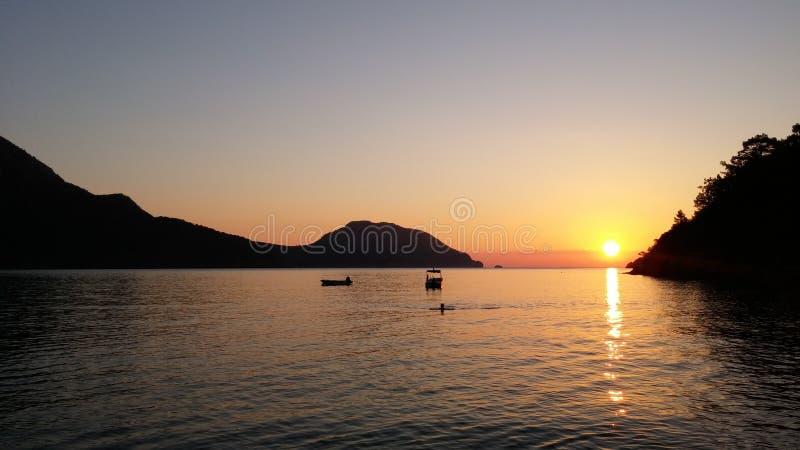 Sunrise above the sea. Adrasan Beach Turkey royalty free stock images