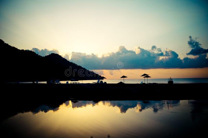 Sunrise above the sea coast. Summer time sunrise above Beach Turkey stock image