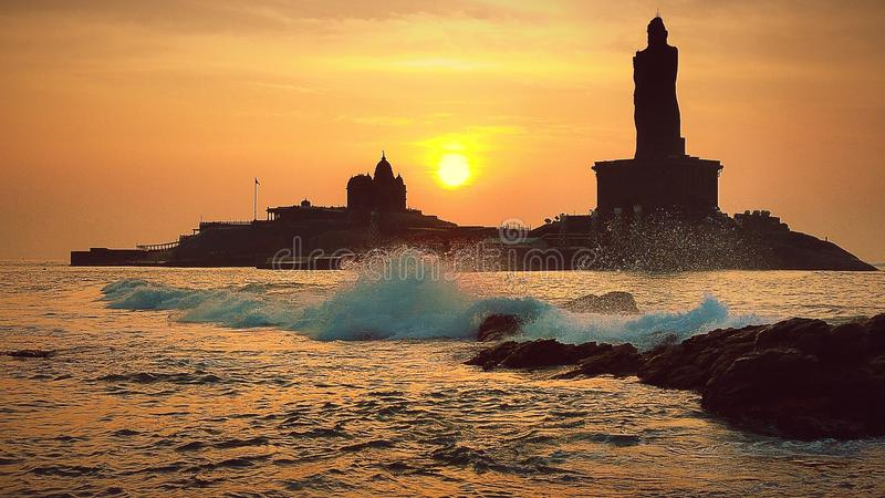 Sunrise above the sea in the Kanyakumari. Kanyakumari(Cape Comorin). This is it, the end of India. T royalty free stock photography