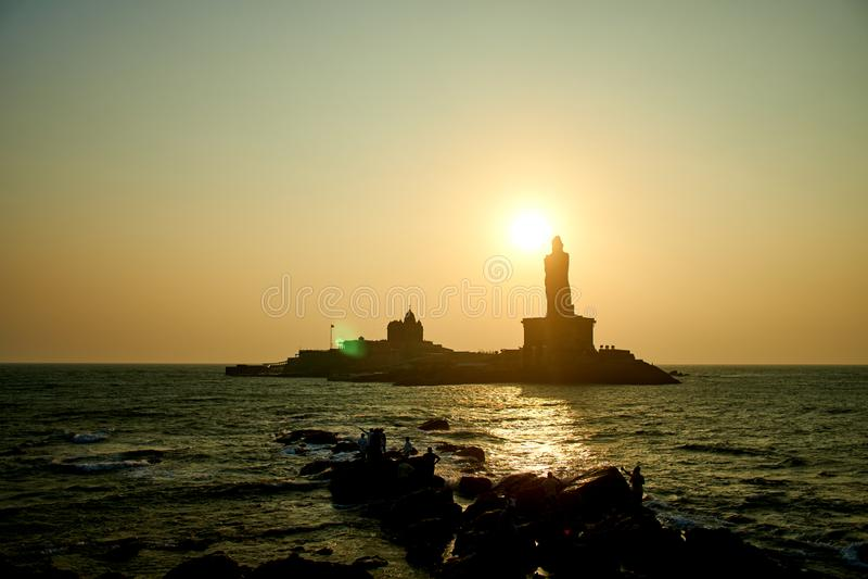 Sunrise above the sea Kanyakumari Comorin cape India stock photos
