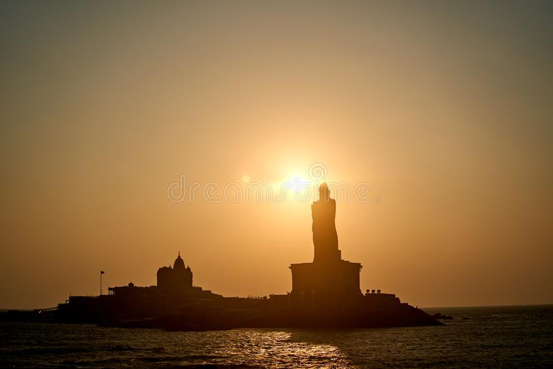 Sunrise above the sea Kanyakumari Comorin cape India stock images