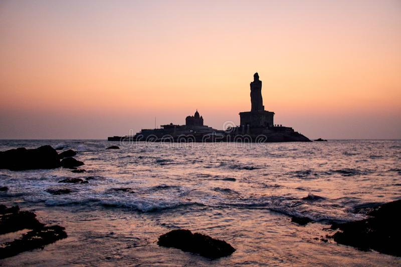 Sunrise above the sea Kanyakumari Comorin cape India royalty free stock photo
