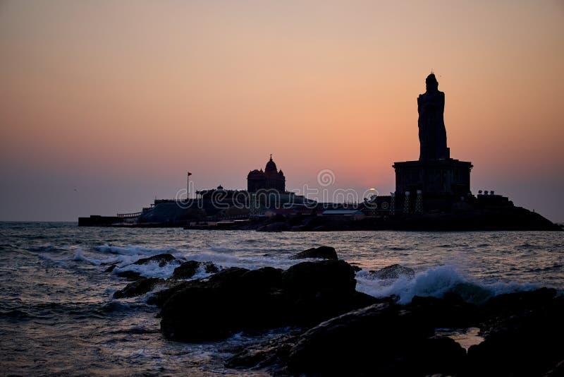 Sunrise above the sea Kanyakumari Comorin cape India stock photography