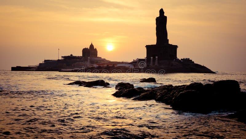 Sunrise above the sea silhouette of coast of India Kanyakumari. Cape Comorin South of India royalty free stock photo